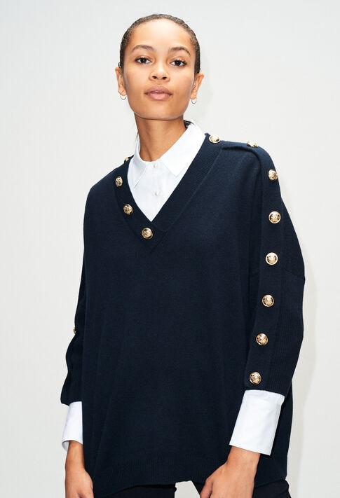 MANCEAUH19 : Maille & Sweatshirts couleur MARINE